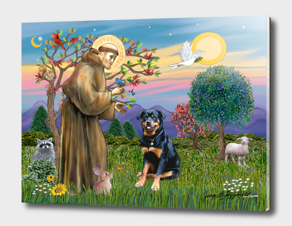 Saint Francis Blesses a Rottweiler