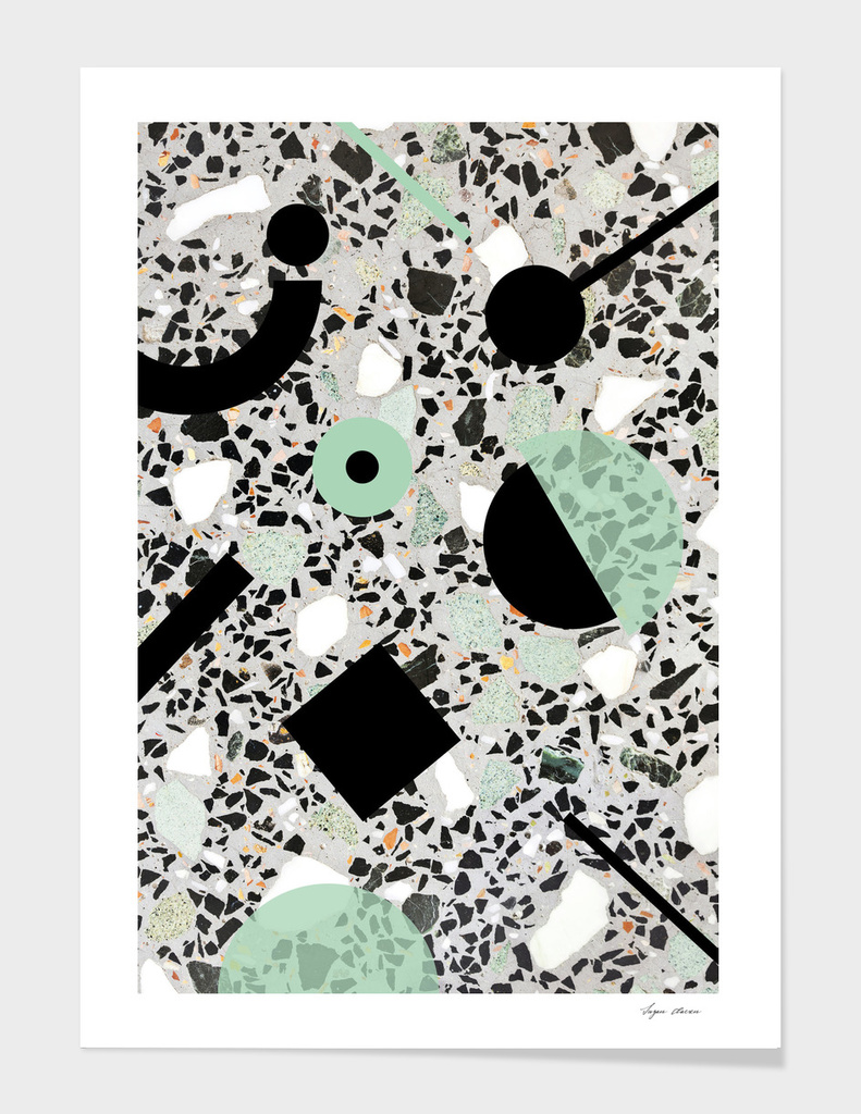 Concrete terrazzo pattern with black/green memphis shapes