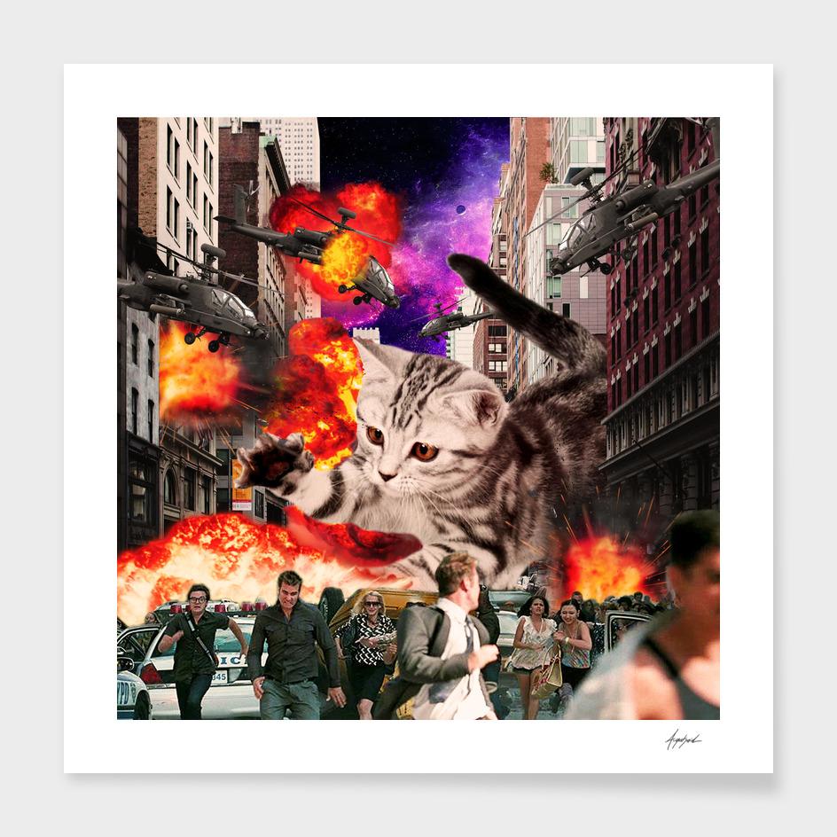 Cat Attack New York City Explosions Run Away Invader