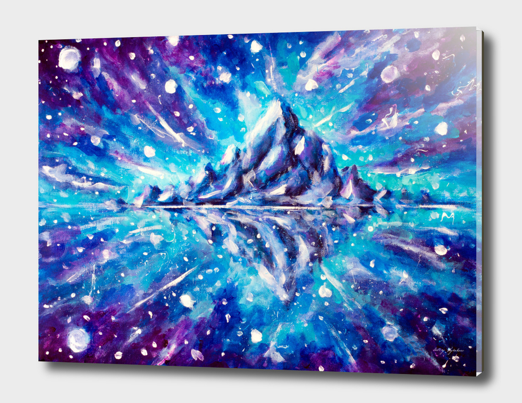 Cosmic mountain landscape with reflection.