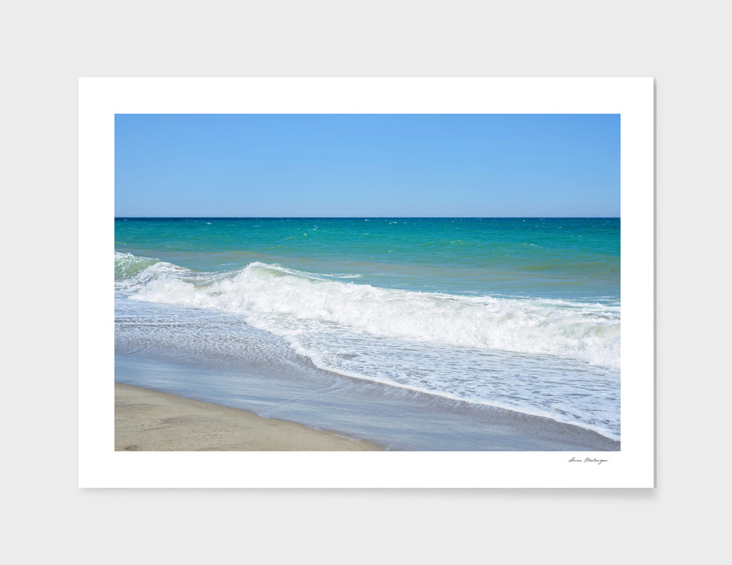 Sandy beach and Mediterranean sea