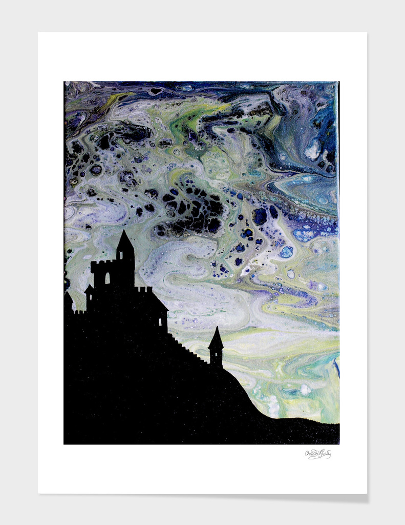 Castle Silhouette Fluid Painting