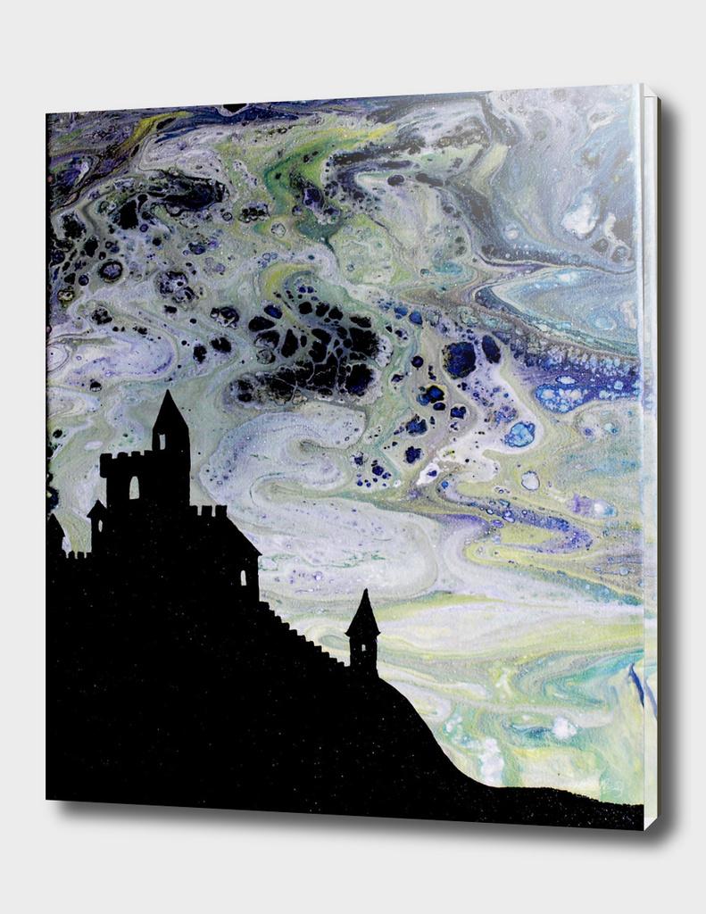 Castle Silhouette Fluid Painting