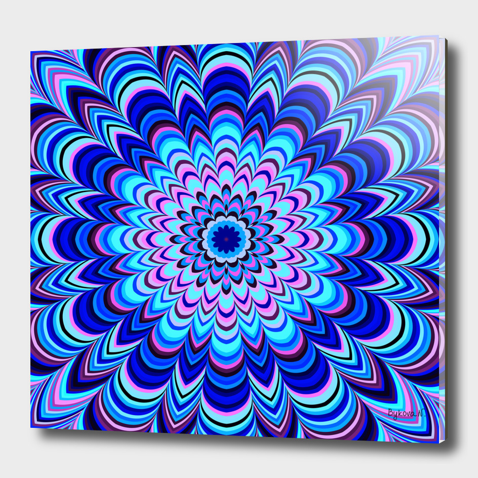 Neon blue striped mandala