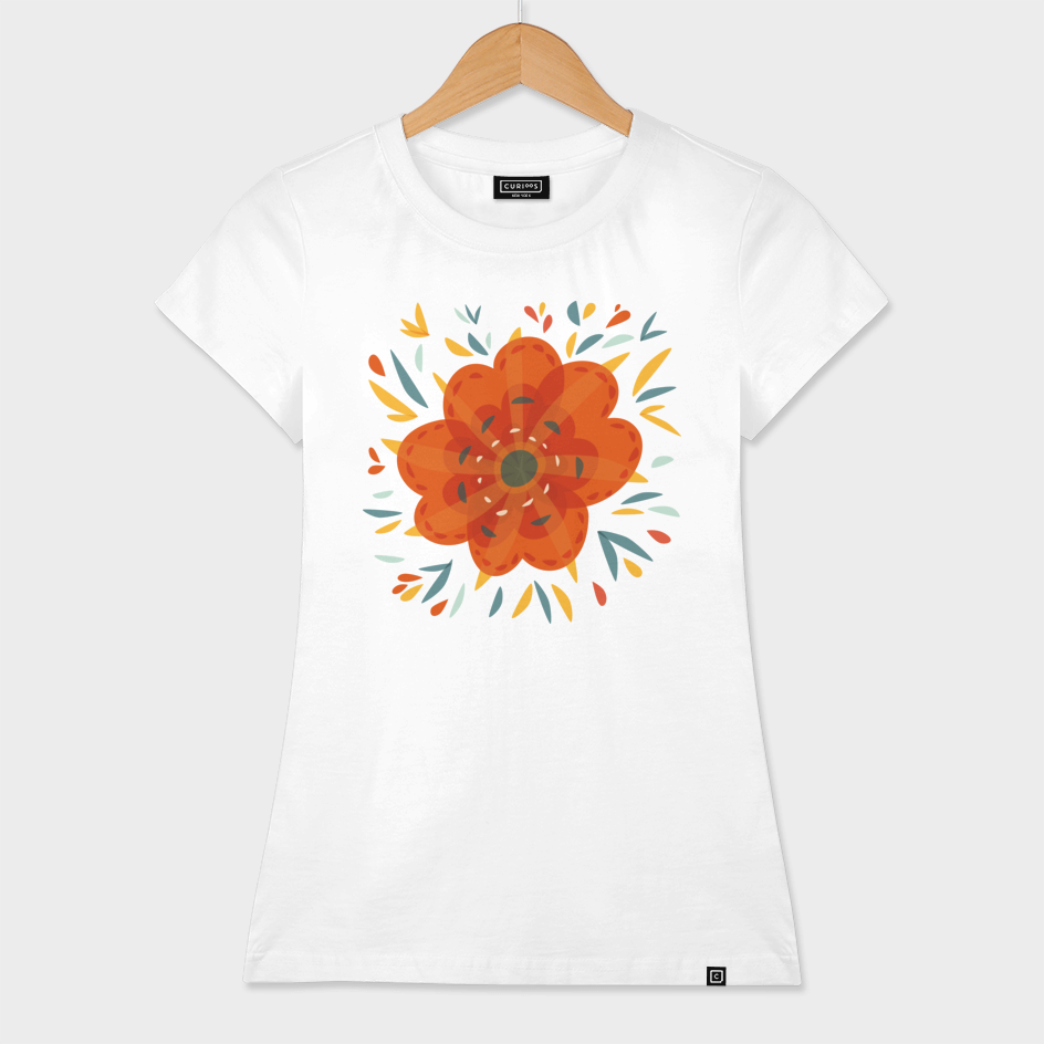 Whimsical Decorative Orange Flower