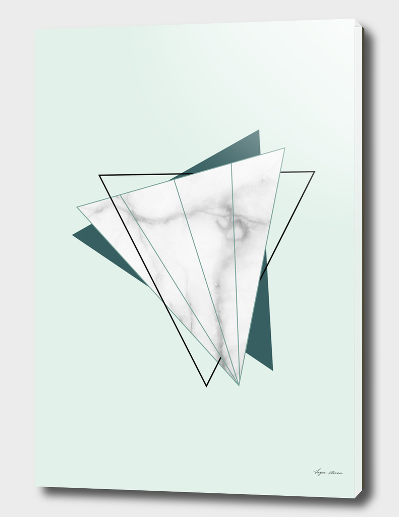 Abstract Geometric Triangle White Marble Mint Green