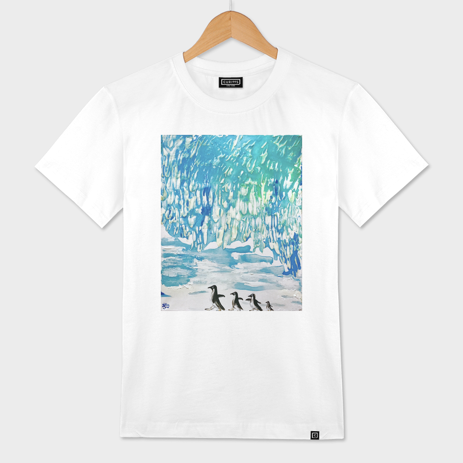 Penguin Family Walk on Thin Ice