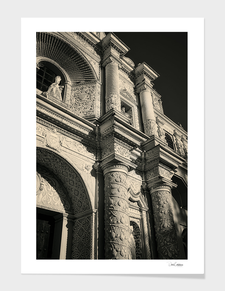 Vintage look facade detail - La Merced Church in Antigua