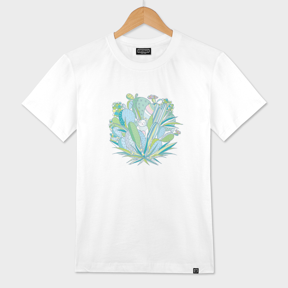 The Cat in Love with a Cactus - on White