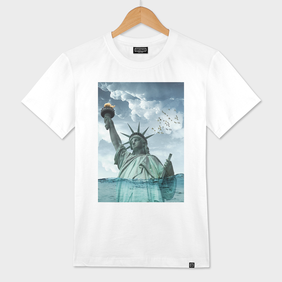 Lady Liberty under water