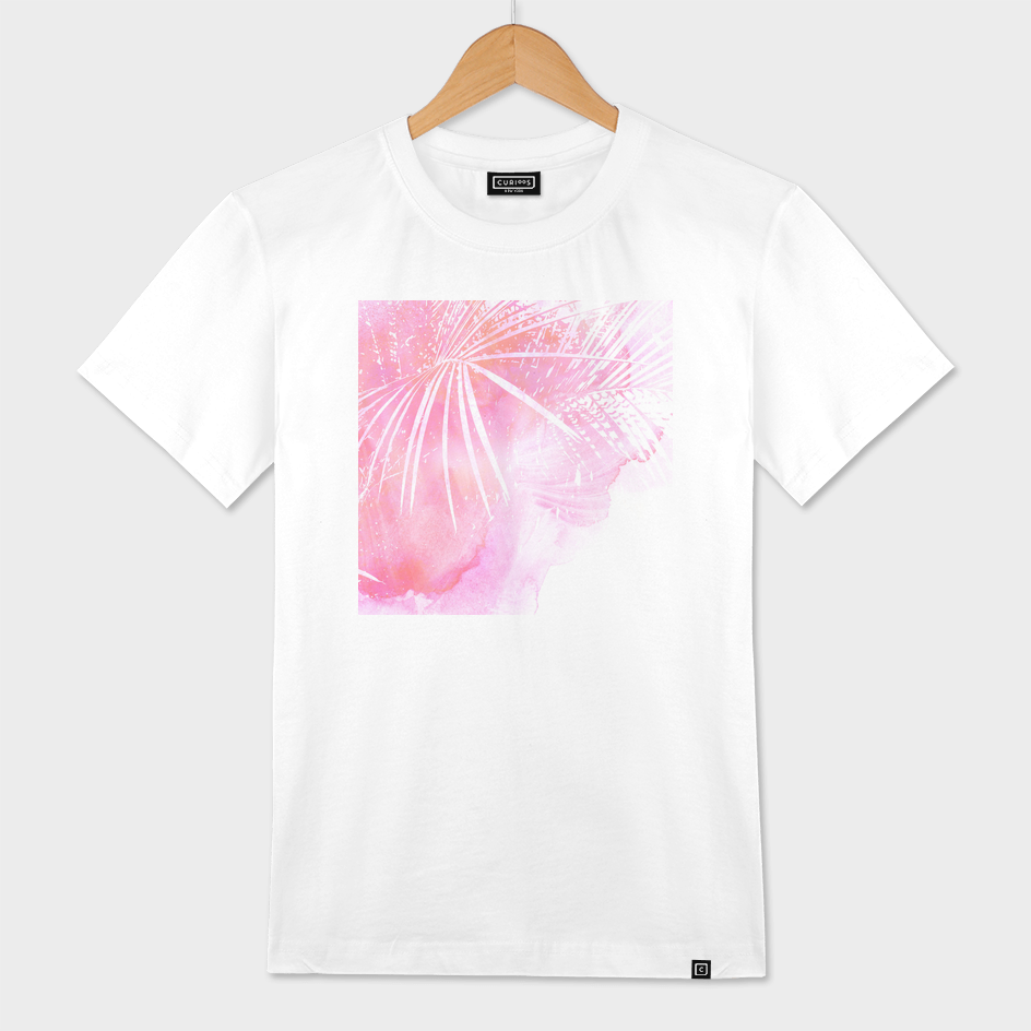 Abstract Pink Palm Tree Leaves Design