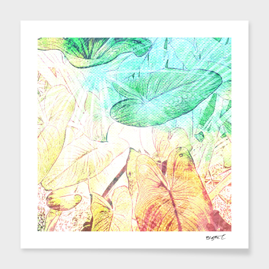 Abstract Tropical Leaves Design