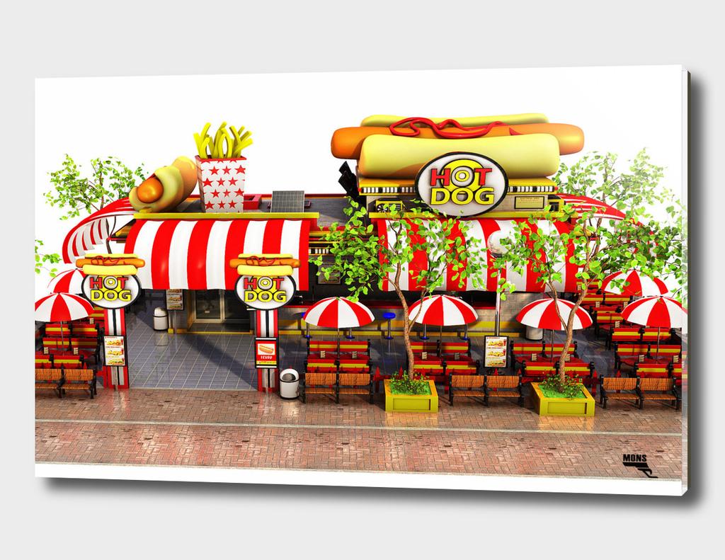 Cartoon Fast Food Restaurant