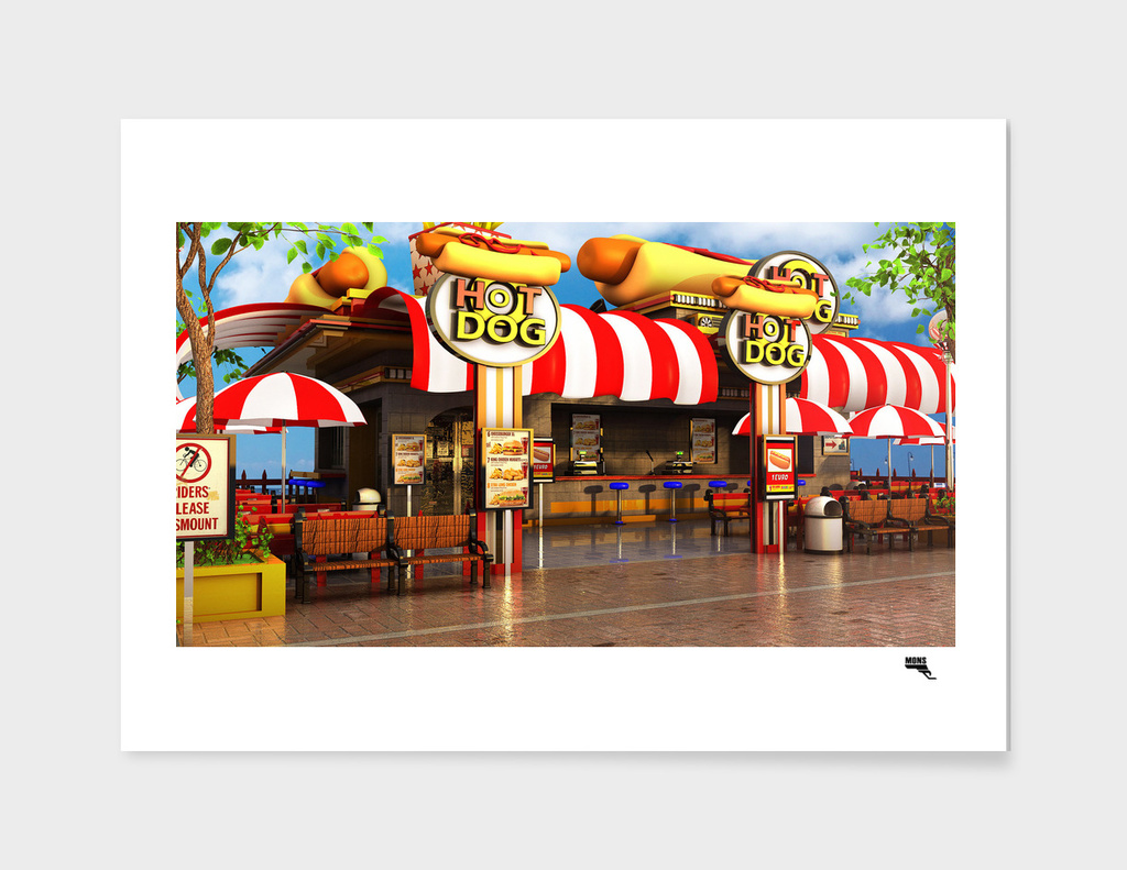 Cartoon Hot Dog Restaurant