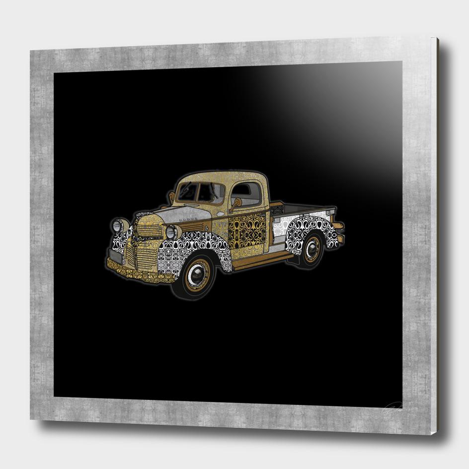 Dad's Old Truck (Black Ink Background)