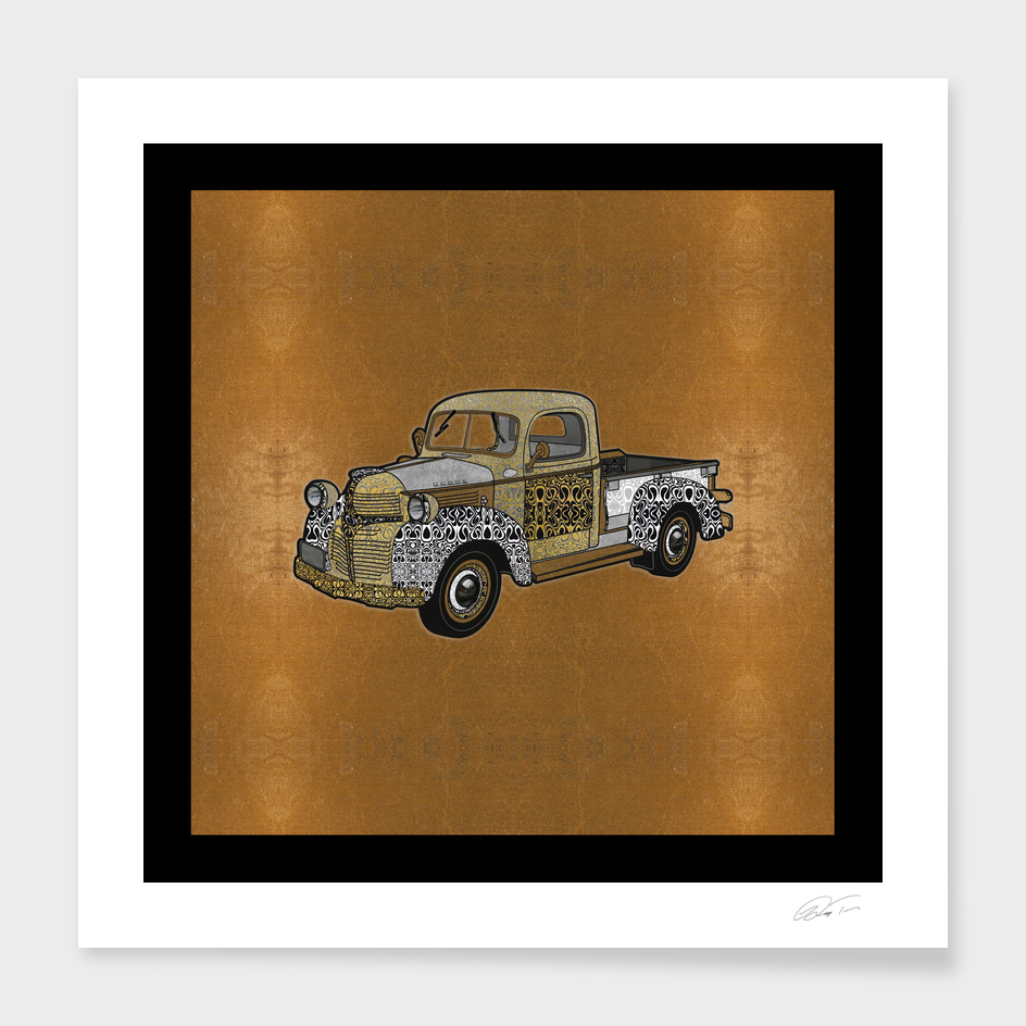 Dad's Old Truck (Gold Leaf Background)