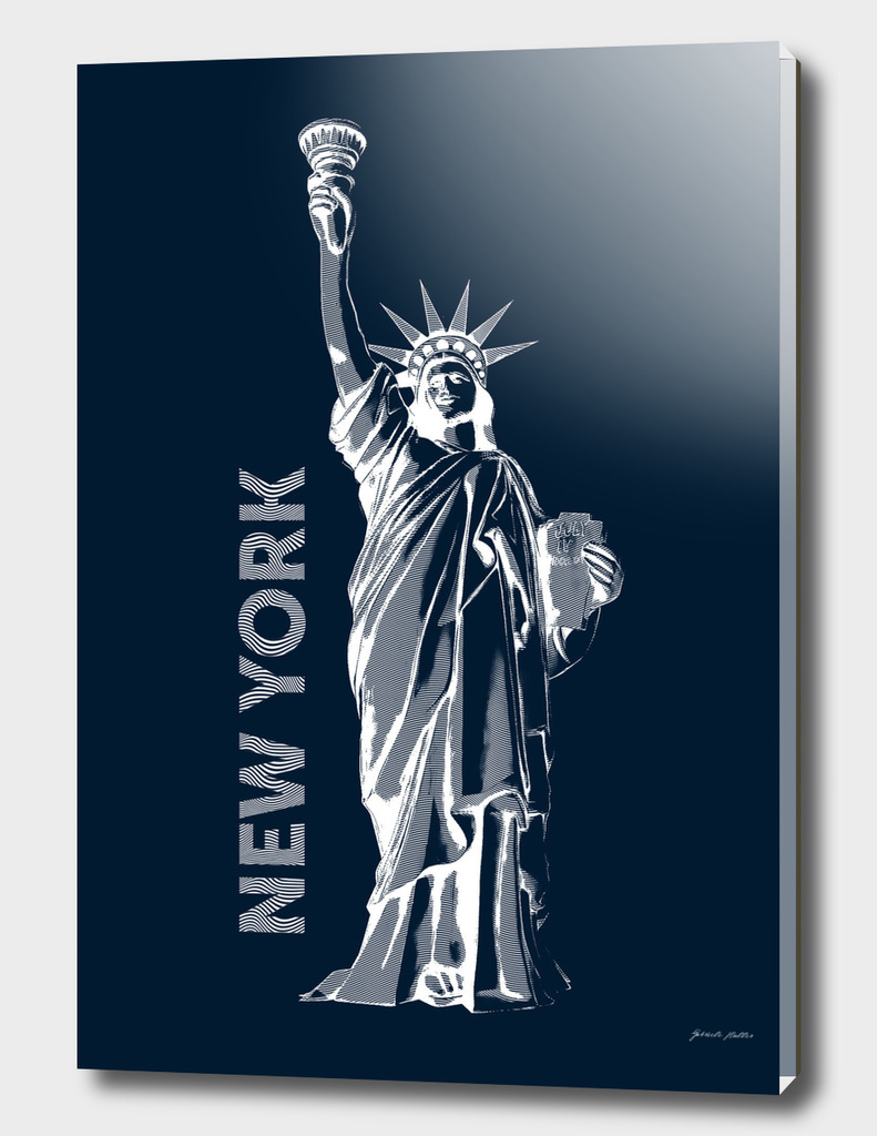 Liberty, New York - Line Graphic, Popart