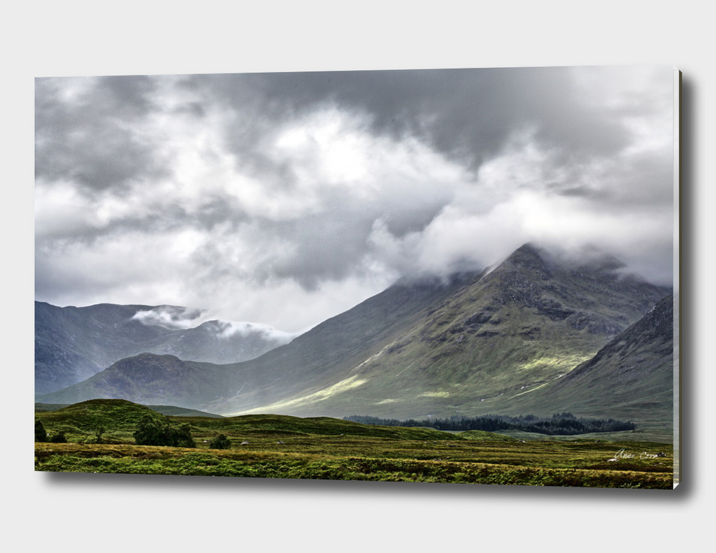Western Highlands, Scotland in cloud cover.