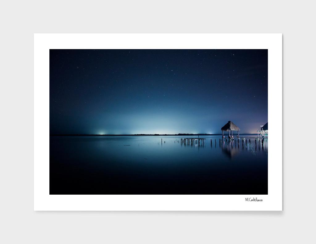 Blue night. Bacalar, Mexico