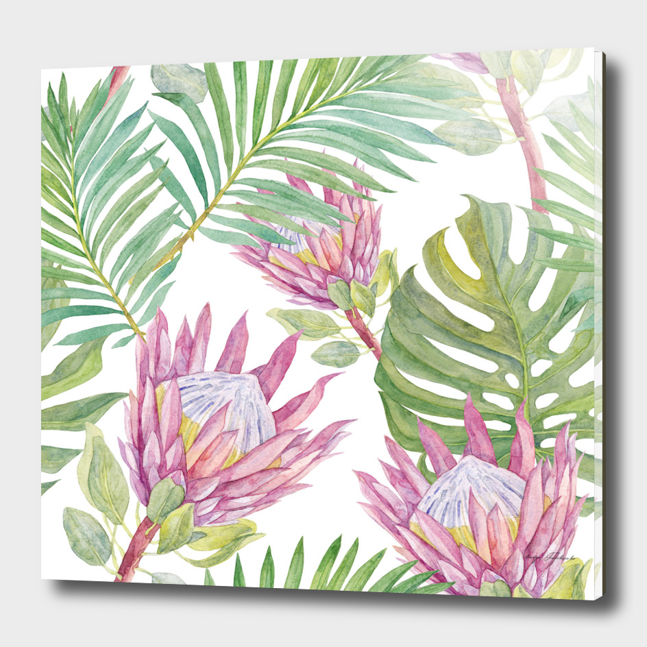 Pattern with protea flowers and tropical leaves.