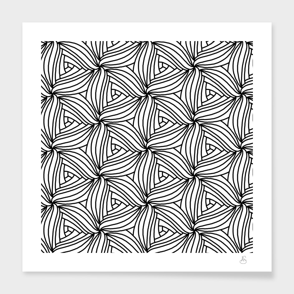 Black and White Geometric Petals