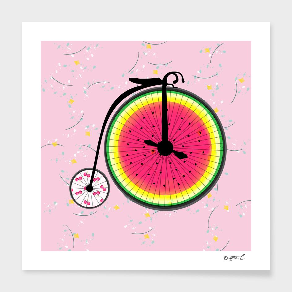 Vintage Bicycle Fruits Wheels Design