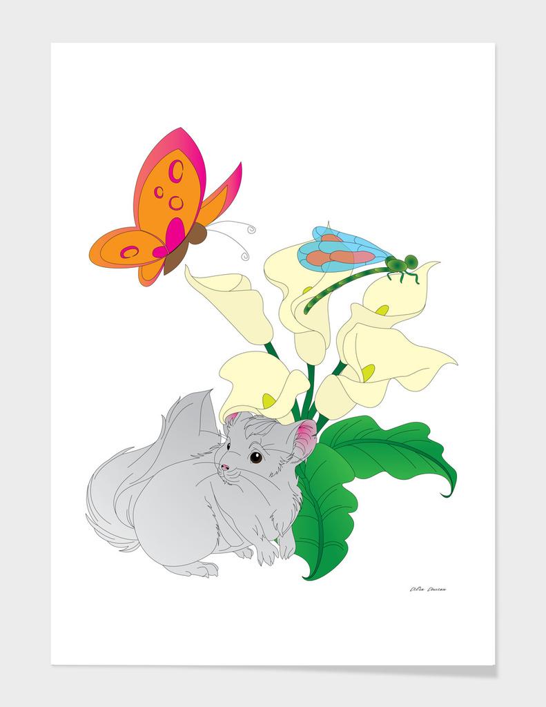 Chinchilla hiding under a Lily