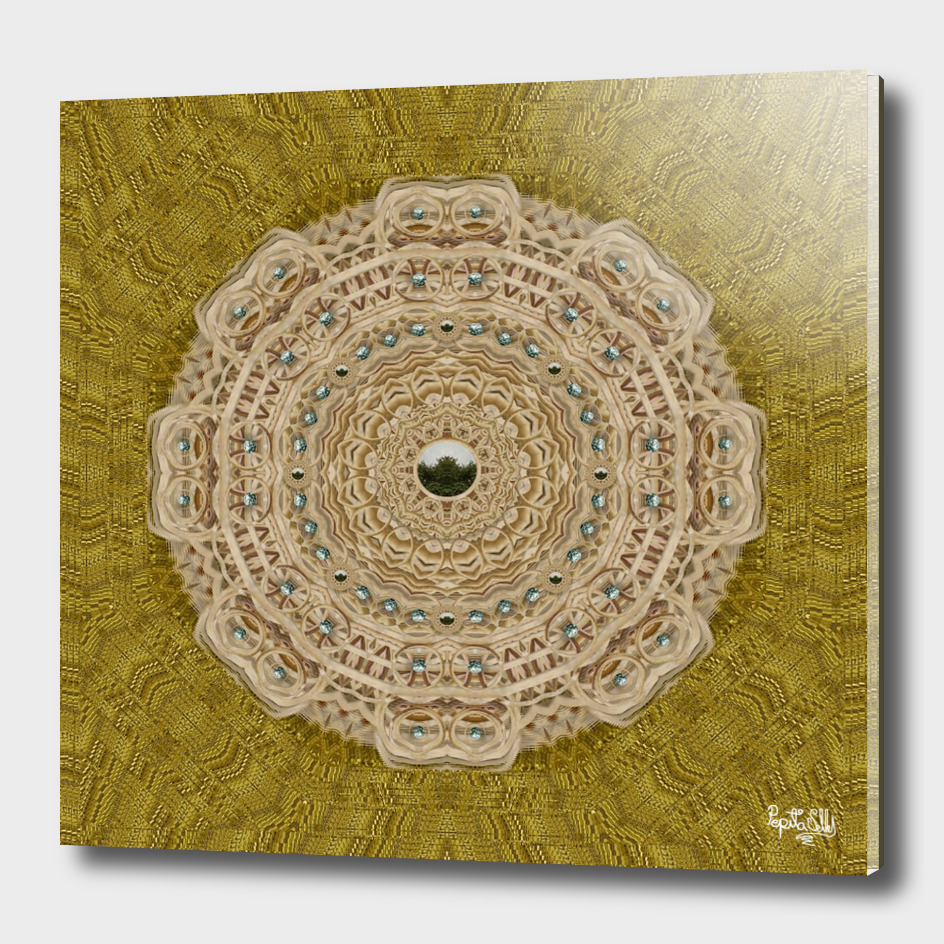 golden forest silver tree in wood mandala
