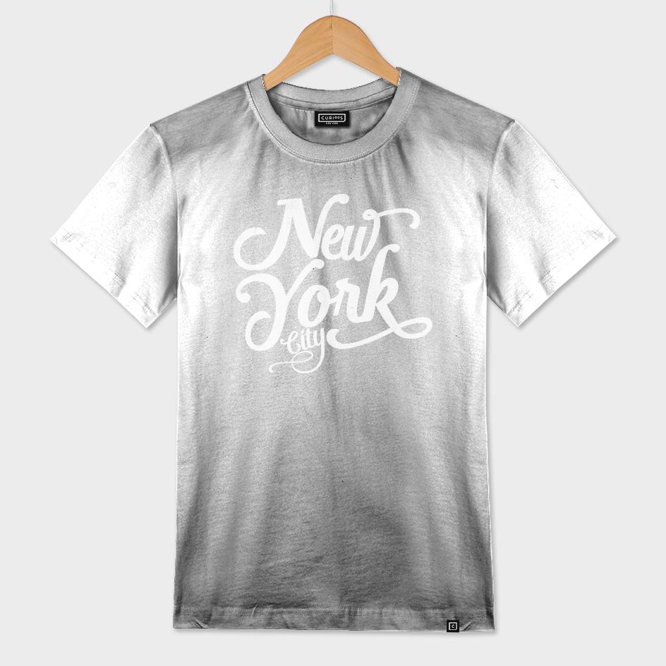 New York City typography white