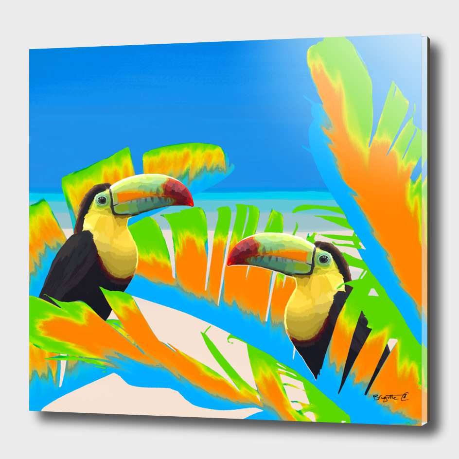 Colorful Toucans Tropical Banana Leaves Pattern