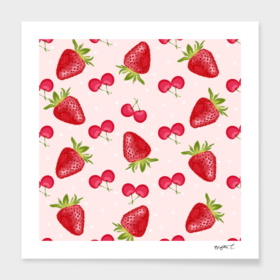 Strawberries Cherries Fiesta Pattern