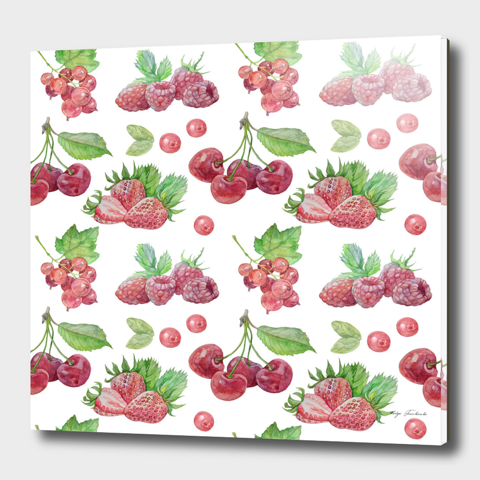 Pattern with red berries.
