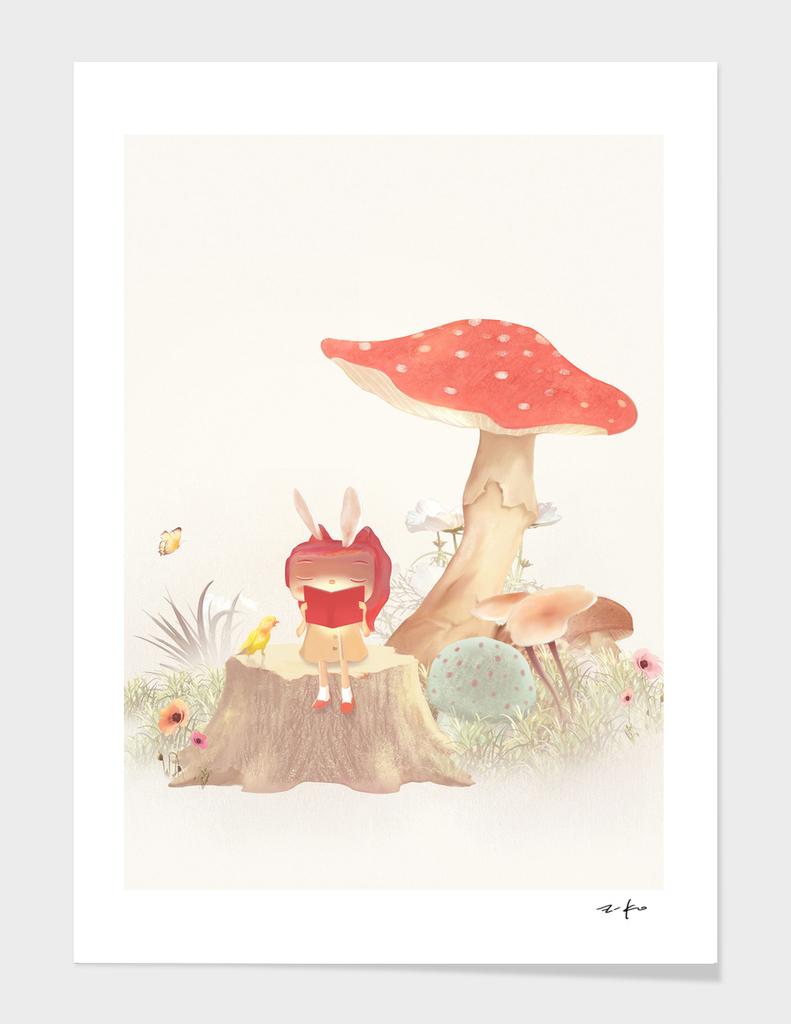 Girl Reading Book Under a Mushroom