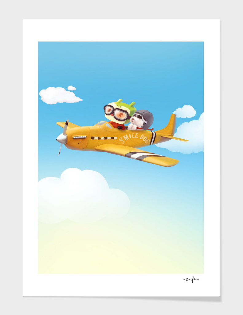 Little pilot and dog on a plane in the Sky