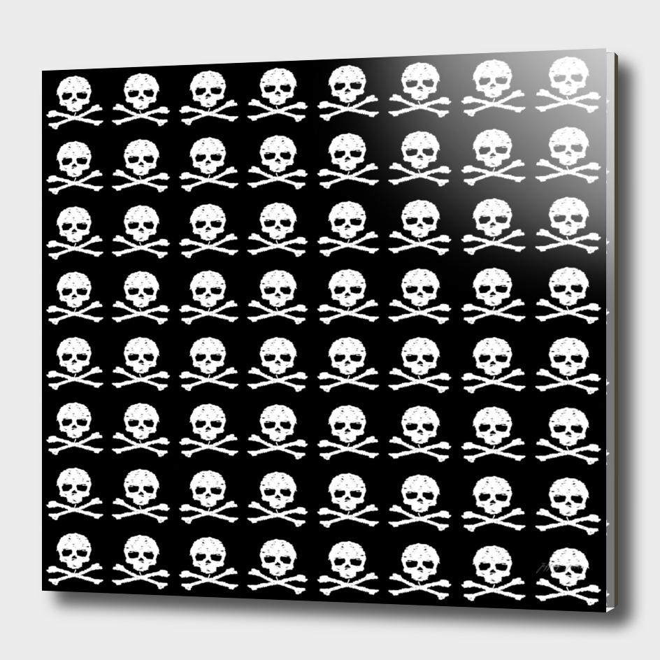 Skull and XBones in Black and White (Medium)