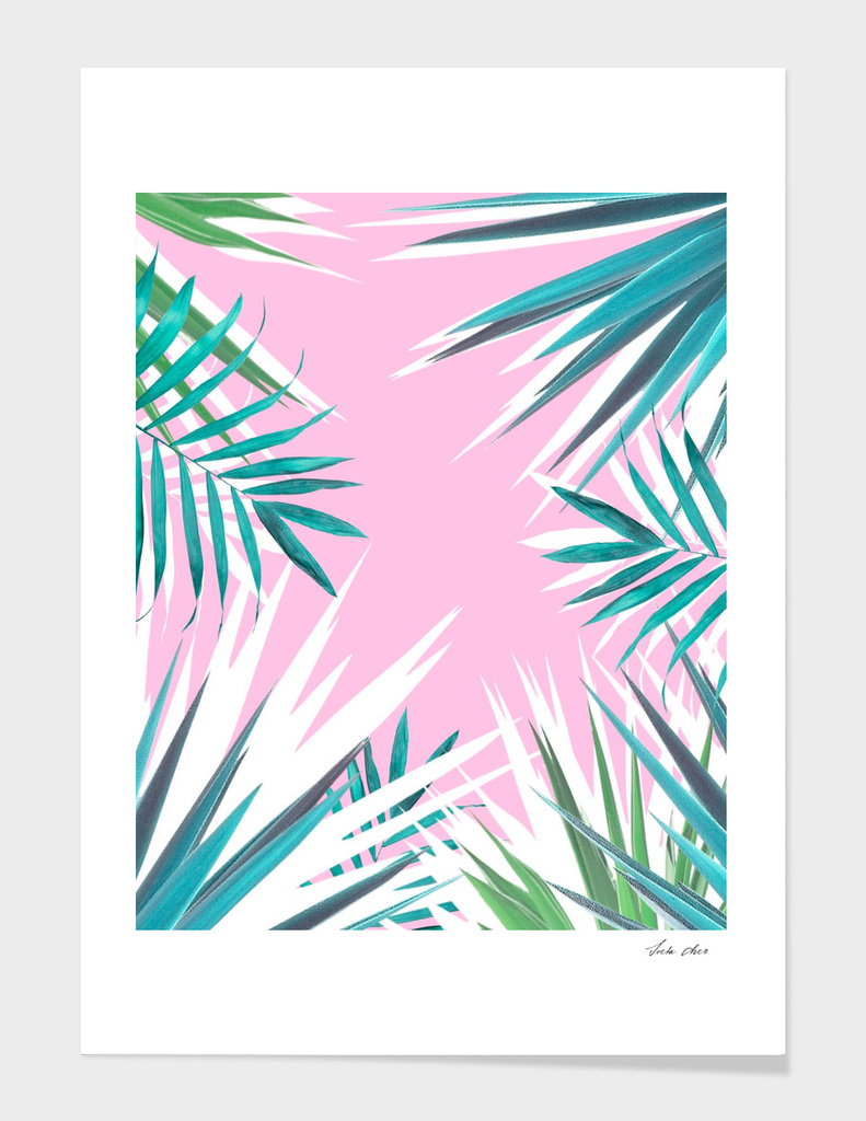 Tropical leaves pink and turquoise