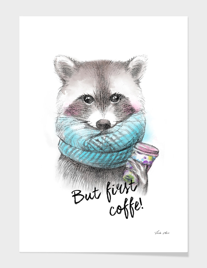 Raccoon pencil and watercolor illustration