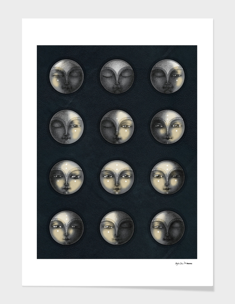 moon phases and textured darkness