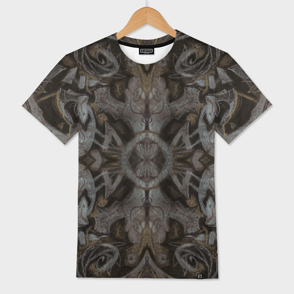 Curves & lotuses, arabesque in charcoal black and taupe