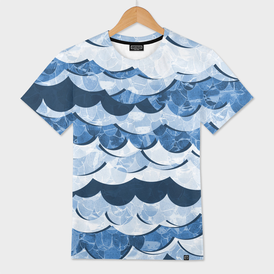Abstract Blue Sea Waves Design