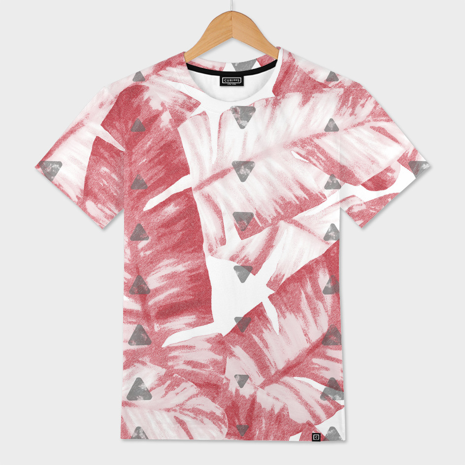 Dusty Rose Tropical Banana Leaves Arrows Design