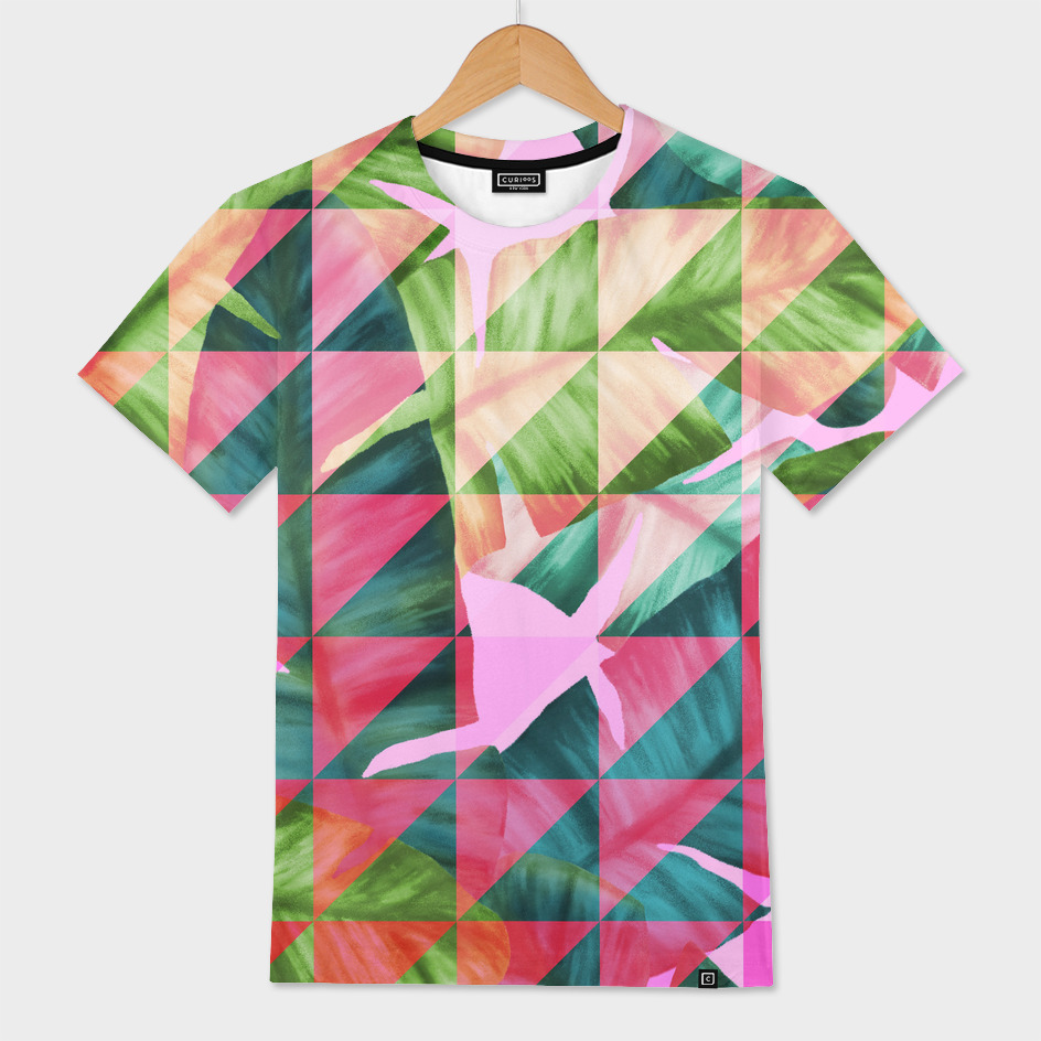 Abstract Hot Pink Banana Leaves Design