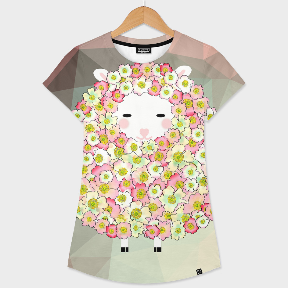 Pastel Tone Flowery Sheep Design