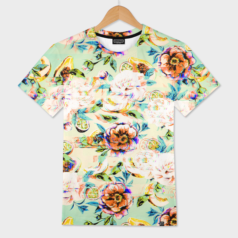 Glitch vintage tropical floral fruit