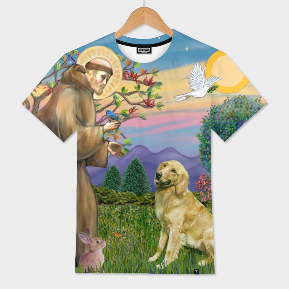 Saint Francis Blesses a Golden Retriever