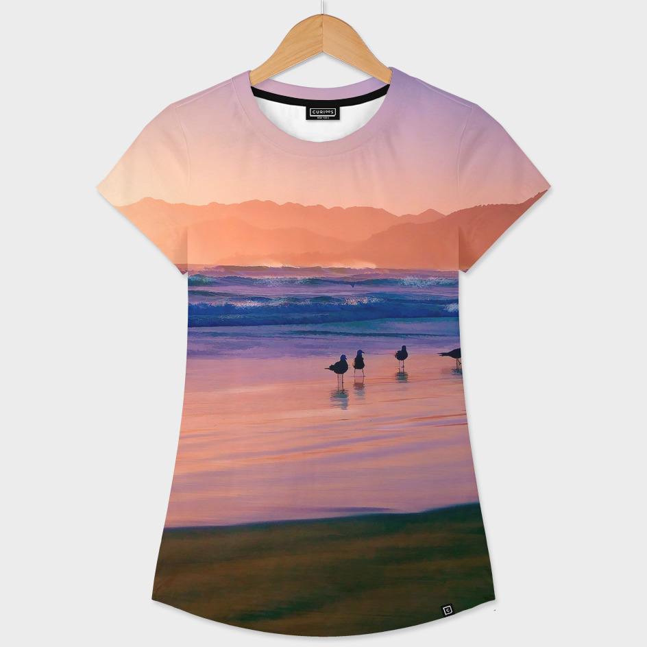 Ocean Shoreline with Seagulls at Sunset