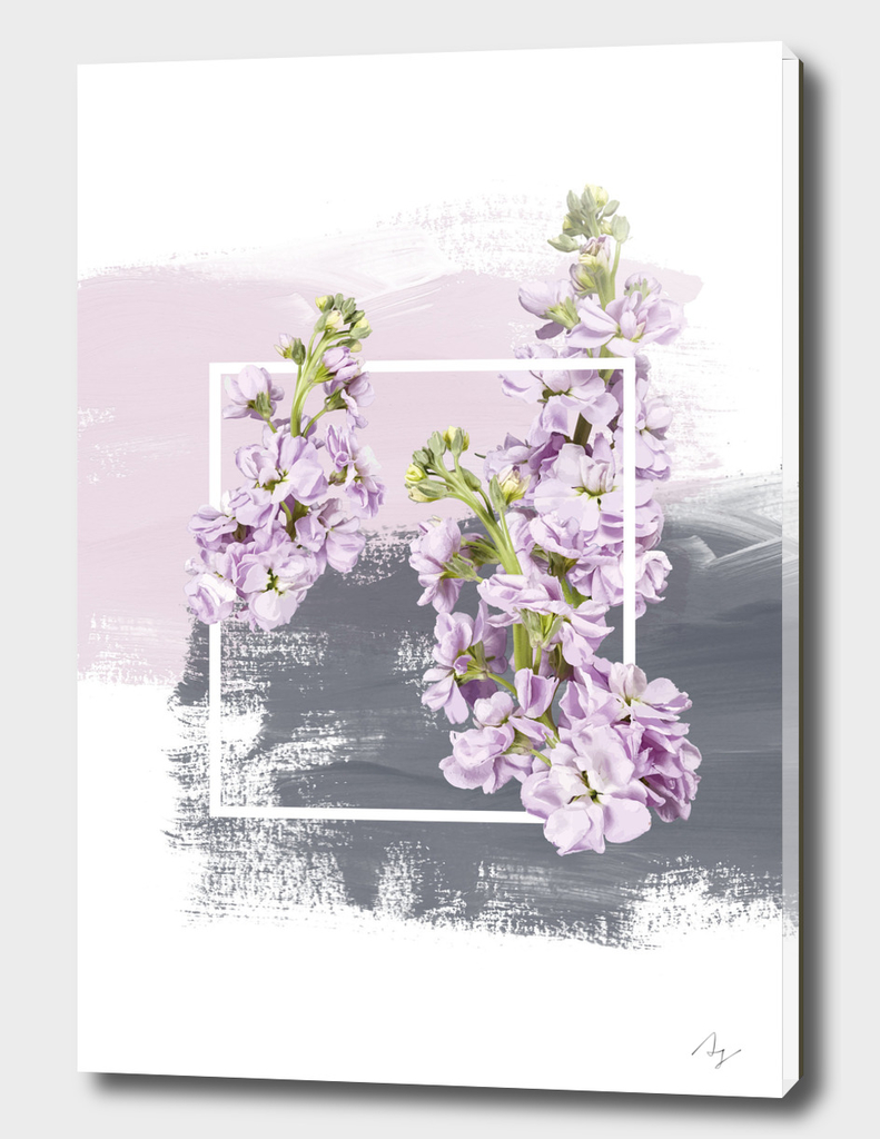 Framed Lilac on Pink and Grey Brush Strokes
