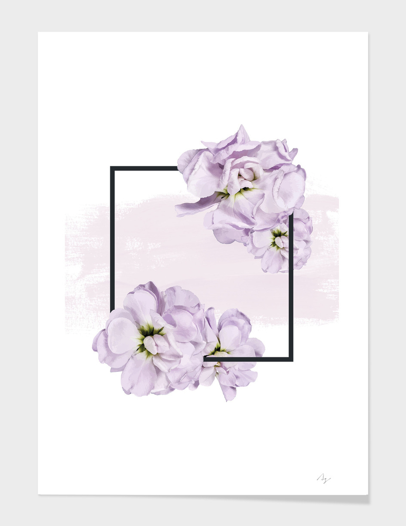 Framed Lilac on Pink Brush Strokes