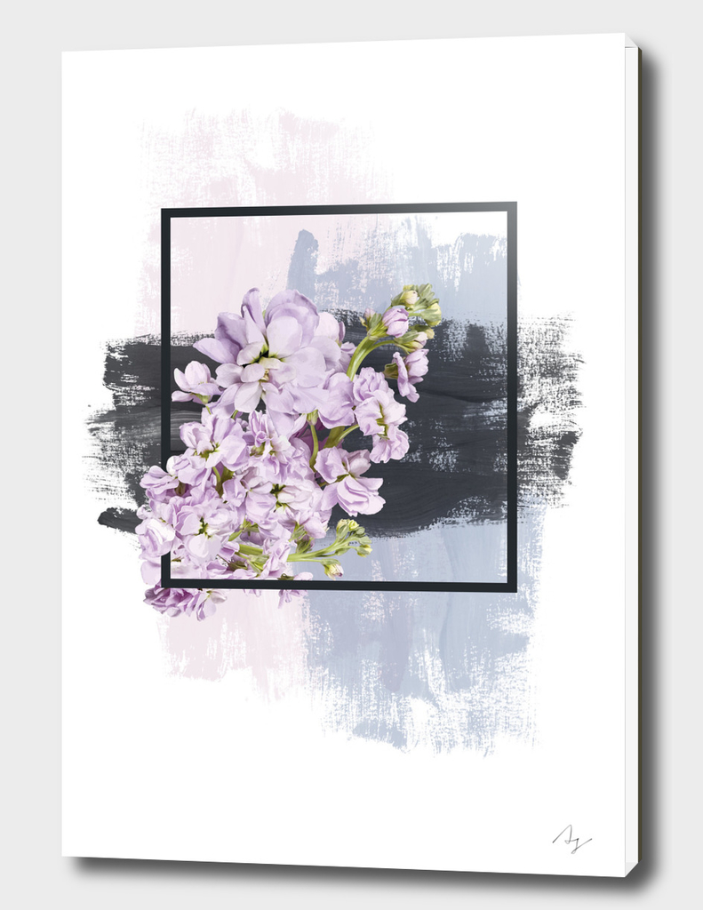 Framed Lilac on Pink Black and Blue Brush Strokes