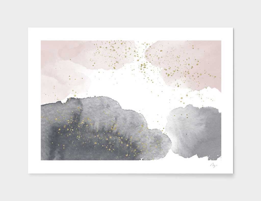 Sparkling Watercolour Clouds - Black Nude
